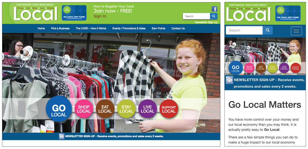 Go Local Fort Frances website screenshots