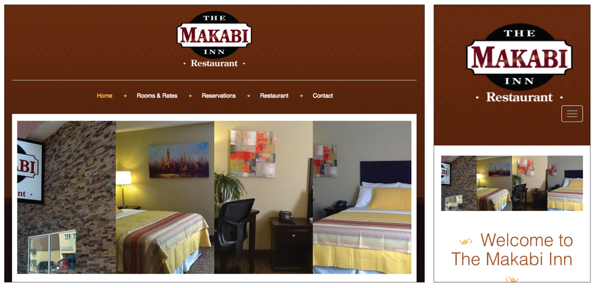 Makabi Inn website screenshots