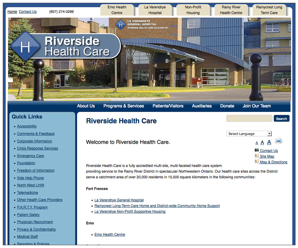 Riverside Health Care Facilities website screenshot