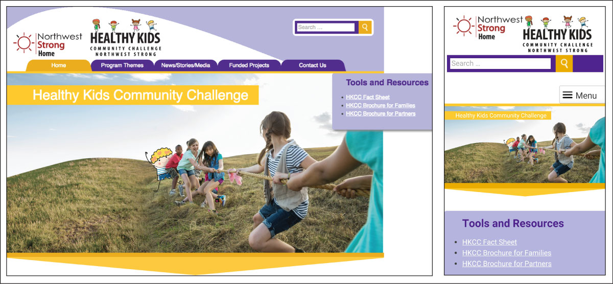 Healthy Kids website screenshots
